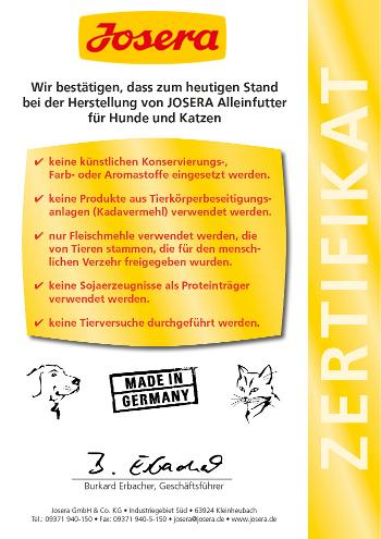JOSERA Hundefutter Qualitaetsgarantie Zertifikat